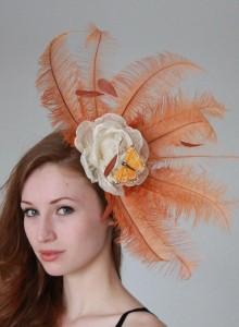 pale orange fascinator